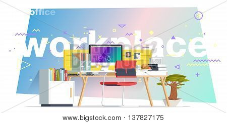 Office workplace illustration. Flat design banners for education training courses e-learning distance training. Abstract & Geometric style. Business concept. Marketing & management