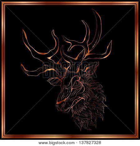 Bronze deer on the black background. Deer in a bronze frame. Hand-drawing illustration.