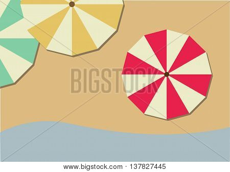 Top View of Colorful Beach Umbrellas on the Beach. Summer theme colorful shades.