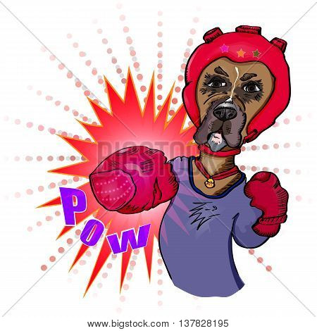 Prize-fighter. Dog-athlete fulfills blows. Illustration vector. Pow