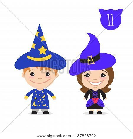 Vector illustration of two happy cute kids characters. Boy in magician costume and a girl in witch costume.