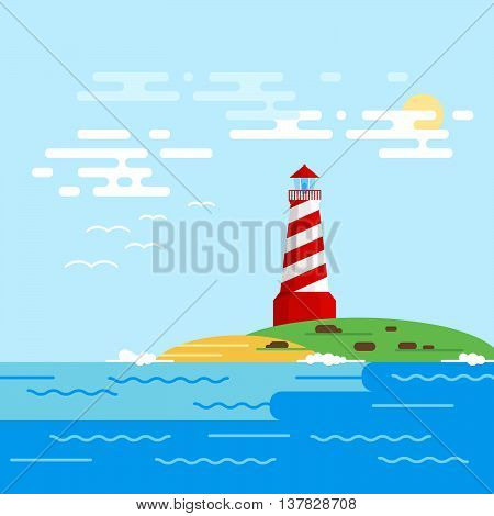 Vector background with lighthouse sea waves in a daytime. Searchlight tower in ocean.