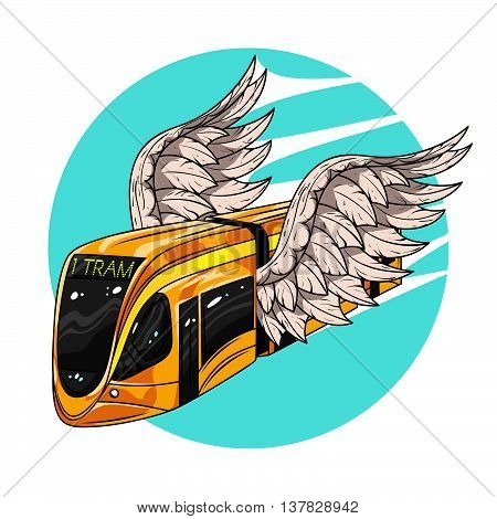 Vector hand drawn illustration of modern tram car with wings. Concept of fast transport. Illustration for print web.