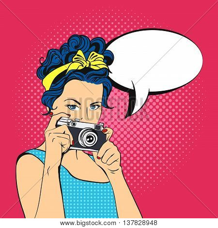 Vector illustration of pop art beautiful young woman and empty speech bubble. Retro Style. Photographer / Woman holding photographic camera.