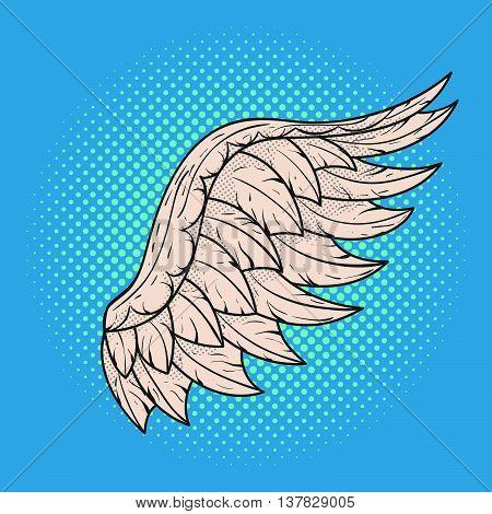 Vector hand drawn pop art illustration of angel wing. Retro style. Hand drawn sign. Illustration for print web.