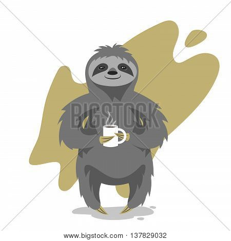 Vector illustration of happy cute sloth with the cup of tea or coffee. Vector print for t-shirt design.