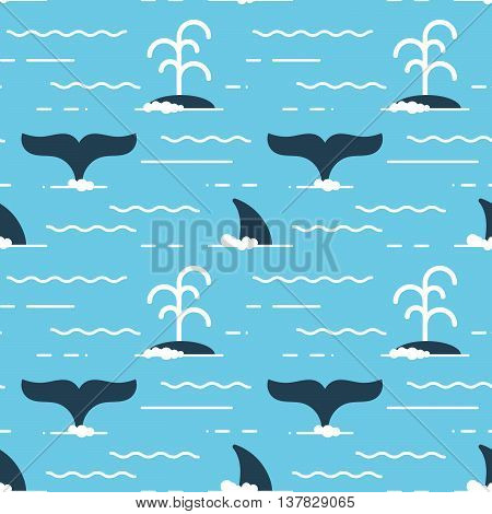 Vector seamless pattern with whale fins over the water. Whale produces a stream of water while swimming.