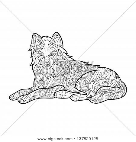 Vector monochrome hand drawn zentagle illustration of wolf. Coloring page with high details isolated on white background. Boho style. Wolf sitting. Design for T-shirt or poster.