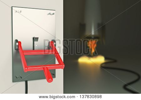 Startup concept with abstract blurry launching rocket ship connected to turned down lever switch on dark grey background. 3D Rendering