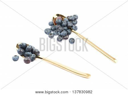 Golden spoon full of bilberries isolated over the white background, set of two different foreshortenings