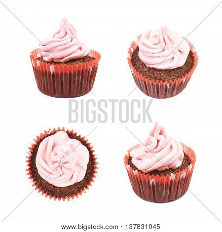 Single chocolate muffin coated with the pink cream frosting, composition isolated over the white background, set of four different foreshortenings