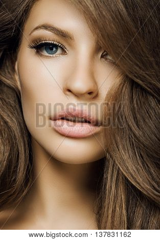 Beautiful Girl With Long Hair. Woman With Blue Eyes. Professional Hair Styling. Spa, Beauty Salons