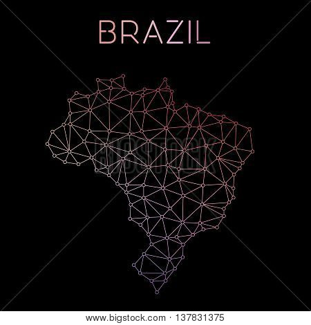 Brazil Network Map. Abstract Polygonal Map Design. Network Connections Vector Illustration.