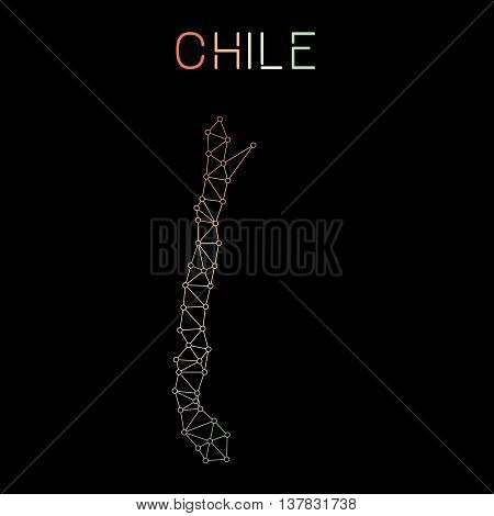 Chile Network Map. Abstract Polygonal Map Design. Network Connections Vector Illustration.