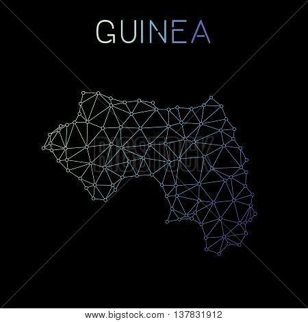 Guinea Network Map. Abstract Polygonal Map Design. Network Connections Vector Illustration.