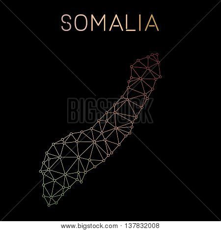 Somalia Network Map. Abstract Polygonal Map Design. Network Connections Vector Illustration.