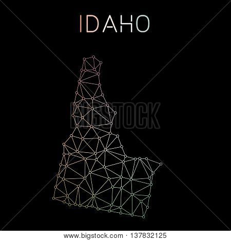 Idaho Network Map. Abstract Polygonal Us State Map Design. Network Connections Vector Illustration.