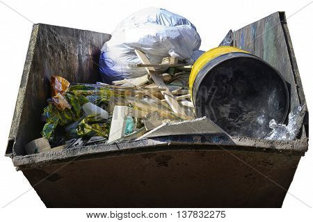 Dumpster with industrial waste isolated on white background.