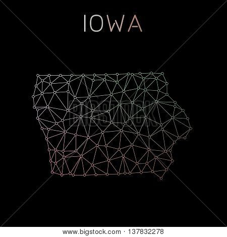 Iowa Network Map. Abstract Polygonal Us State Map Design. Network Connections Vector Illustration.