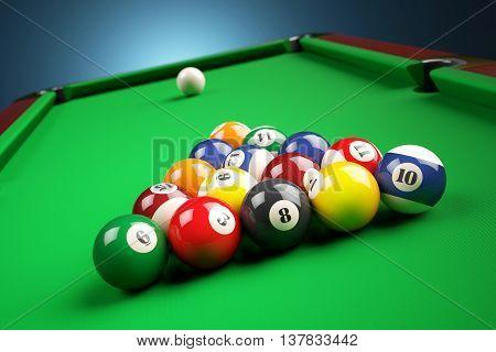 Snooker Billiard Pyramid On Green Table. 3D Illustration
