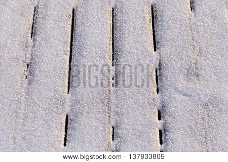 Snow covered wood terrace floor background texture