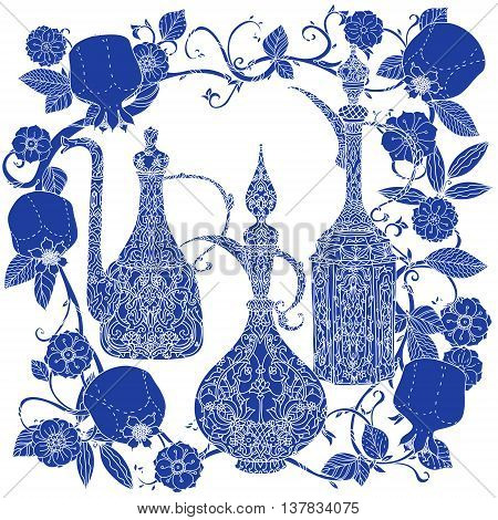 Oriental traditional patterned jug, Flowering branch and pomegranate fruits as detailed silhouette blue on white background Vector illustration. The best for your design, textiles, posters, t-shirt