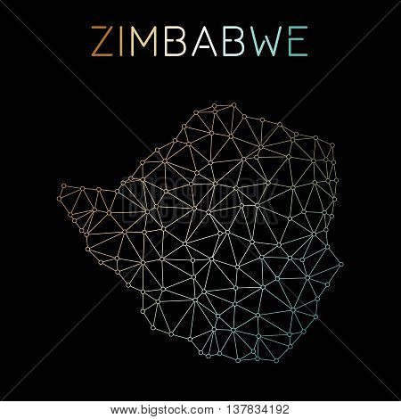 Zimbabwe Network Map. Abstract Polygonal Map Design. Network Connections Vector Illustration.