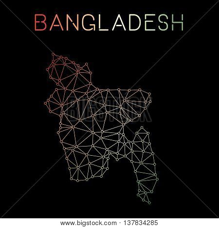 Bangladesh Network Map. Abstract Polygonal Map Design. Network Connections Vector Illustration.