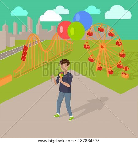 Family holiday in the amusement park vector illustration. City entertainment in the summer vacation concept. Child holding air balloons and eating ice-cream near attractions.