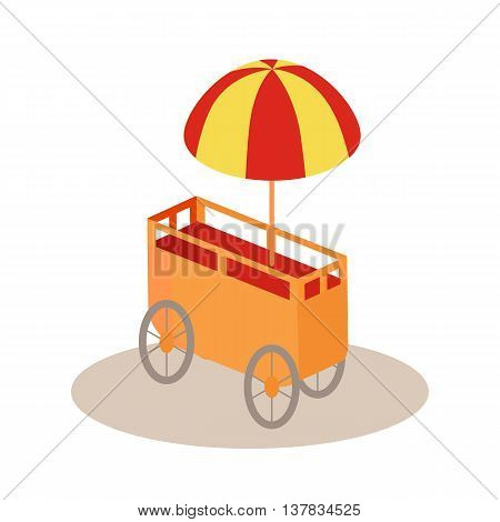 Ice-cream trolley in isometric projection Vector style design Icon. Street fast food concept. Food truck with umbrella illustration. Isolated on white background.