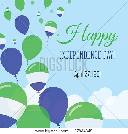 Independence Day Flat Greeting Card. Sierra Leone Independence Day. Sierra Leonean Flag Balloons Pat