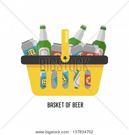 Shopping basket with beer. Beer in cans and glass bottles. Flat vector illustration