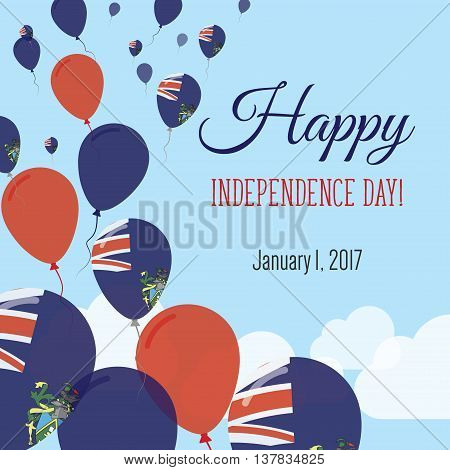 Independence Day Flat Greeting Card. Pitcairn Independence Day. Pitcairn Islander Flag Balloons Patr