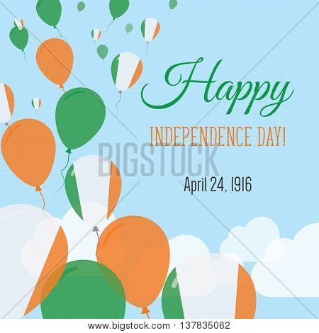 Independence Day Flat Greeting Card. Ireland Independence Day. Irish Flag Balloons Patriotic Poster.
