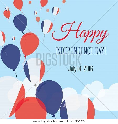 Independence Day Flat Greeting Card. France Independence Day. French Flag Balloons Patriotic Poster.