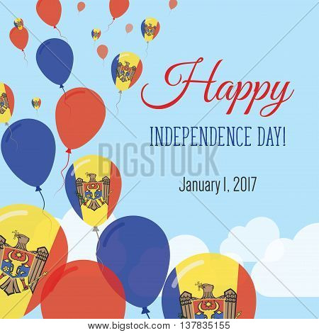 Independence Day Flat Greeting Card. Moldova, Republic Of Independence Day. Moldovan Flag Balloons P