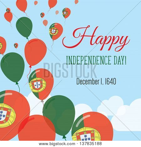 Independence Day Flat Greeting Card. Portugal Independence Day. Portuguese Flag Balloons Patriotic P