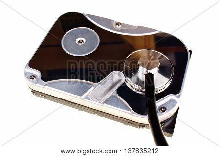 Close Up Of A Computer Hard Disc