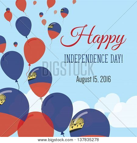 Independence Day Flat Greeting Card. Liechtenstein Independence Day. Liechtensteiner Flag Balloons P