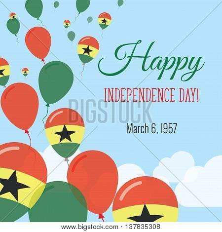 Independence Day Flat Greeting Card. Ghana Independence Day. Ghanaian Flag Balloons Patriotic Poster