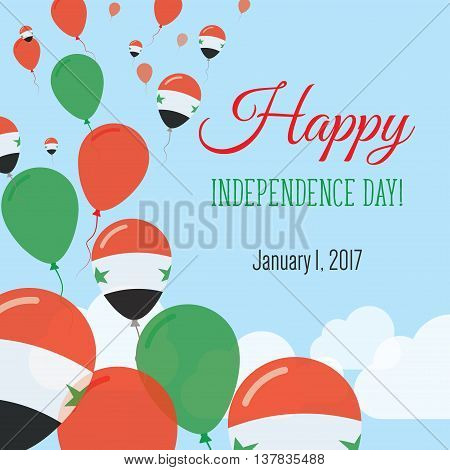 Independence Day Flat Greeting Card. Syrian Arab Republic Independence Day. Syrian Flag Balloons Pat