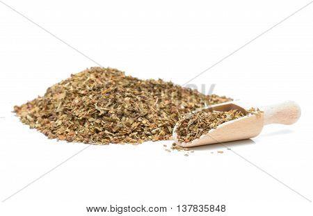 Dry basil on white background in studio