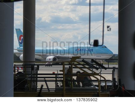 PRAGUE CZECH REPUBLIC - CIRCA JULY 2016: World 2nd biggest passenger aircraft Boeing 747 Jumbo of the Korean Air at Vaclav Havel international airport