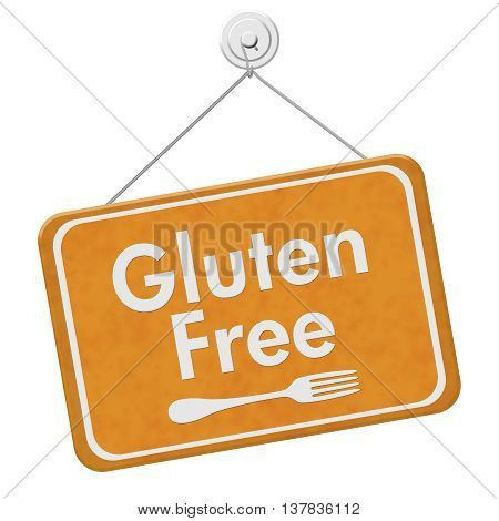 Finding Gluten Free Food A golden hanging sign with text Gluten Free and a fork isolated over white, 3D Illustration