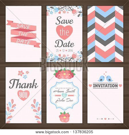 Set of pink wedding romantic cards. Vector collection of six romantic cards. Wedding invitation, thank you card, save the date.
