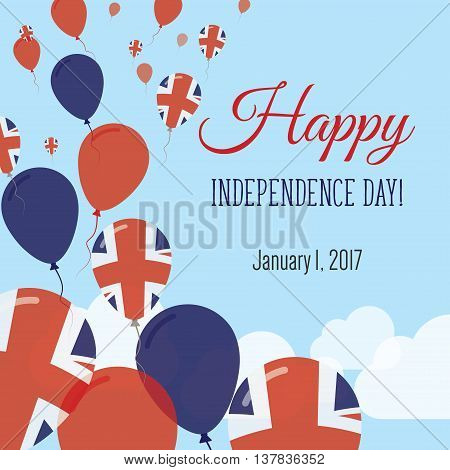 Independence Day Flat Greeting Card. United Kingdom Independence Day. British Flag Balloons Patrioti