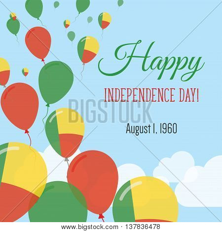 Independence Day Flat Greeting Card. Benin Independence Day. Beninese Flag Balloons Patriotic Poster
