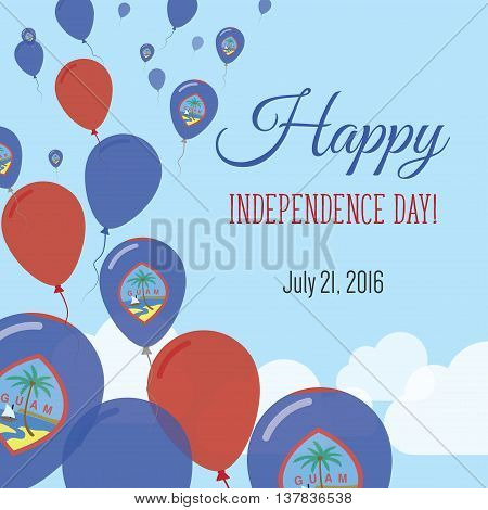 Independence Day Flat Greeting Card. Guam Independence Day. Guamanian Flag Balloons Patriotic Poster