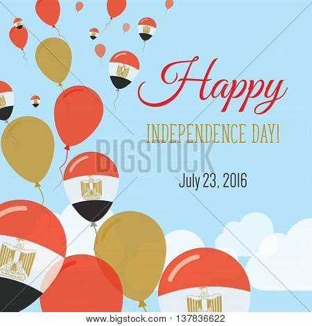 Independence Day Flat Greeting Card. Egypt Independence Day. Egyptian Flag Balloons Patriotic Poster