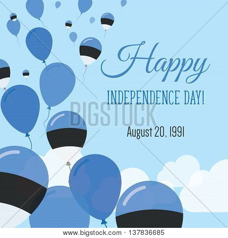 Independence Day Flat Greeting Card. Estonia Independence Day. Estonian Flag Balloons Patriotic Post